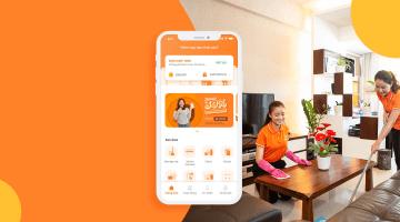 Giao diện của ứng dụng giúp việc nhà theo giờ bTaskee